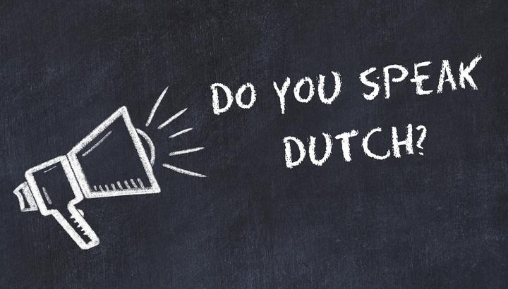 """Do you speak Dutch?"" on a blackboard"